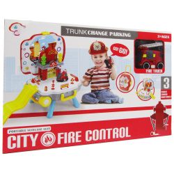 Portable suitcase fire station parking set