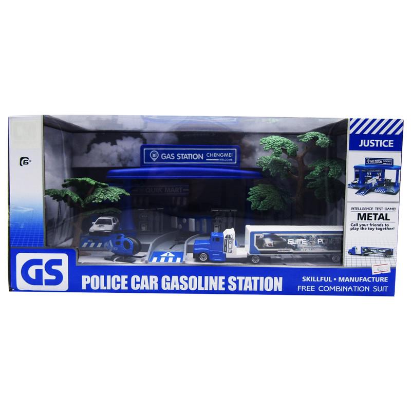 Police Cars Gasoline Station