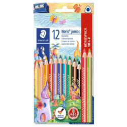 12 Jumbo Pencils Colors with Sharpener
