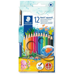 12 Noris Club Aquarell Water Color Pencils with Free Paint Brush