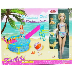 Doll With Swimming Pool & Acessories Set