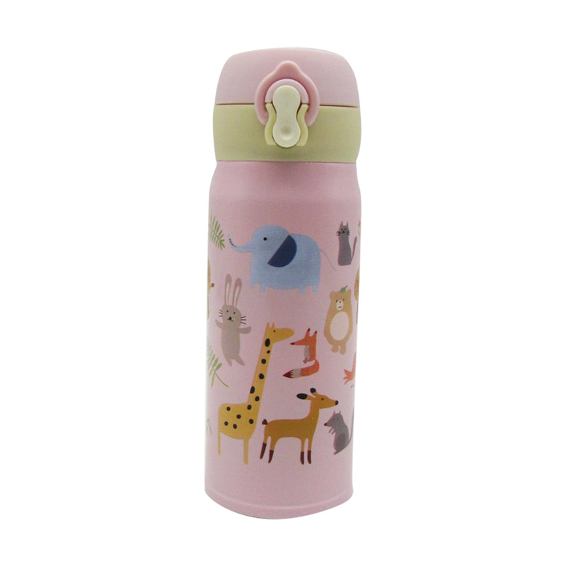 Stainless Steel Bottle With Strap 350ML- Animal Pink