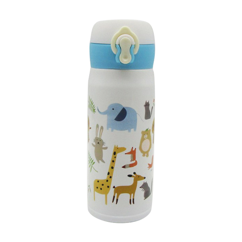 Stainless Steel Bottle With Strap 350ML- Animal White