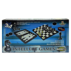 Large Intellect 3 in 1 Game Board - Chess / Checkers / Backgammon