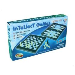 Medium Intellect 3 in 1 Game Board - Chess / Checkers / Backgammon