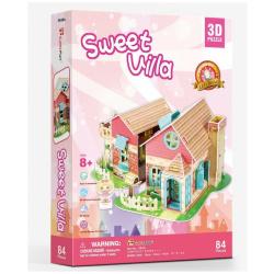3D Puzzle Sweet Villa with Led Light - 84 Pcs