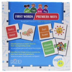 Educational Cards - First Words ( English & French ) - 60 Pcs