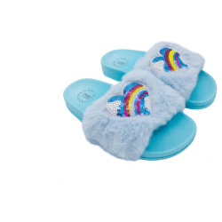 Heart Sequin Slipper For Women - Baby Blue