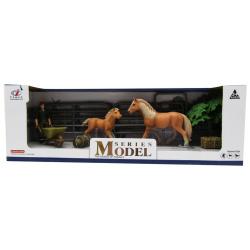 Animal Series Stable Set & Farmer - Beige Horses