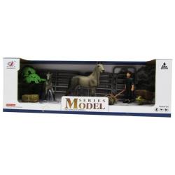 Animal Series Stable Set & Farmer - Gray Horses