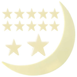 Glow in the Dark Large Moon & Stars - 11 Pcs