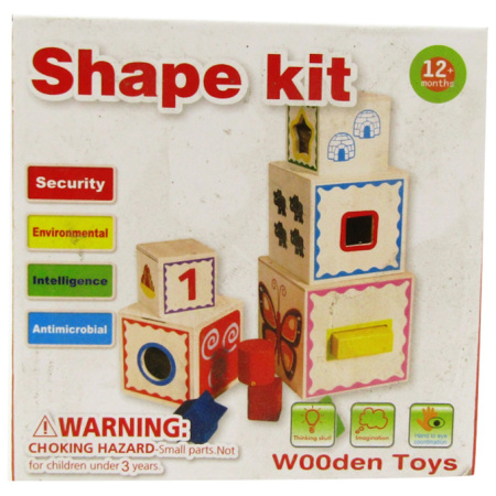Wooden Cubes Tower - Shapes