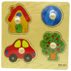Wooden Puzzle With Handle - Shapes