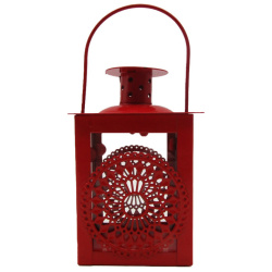 Metal Lantern With Candle Holder - Red