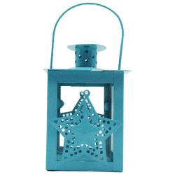 Metal Lantern With Candle Holder - Star - Random Color