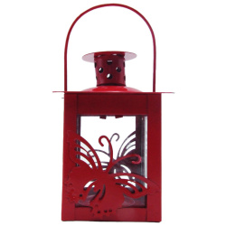 Metal Lantern With Candle Holder - Butterfly - Random Color