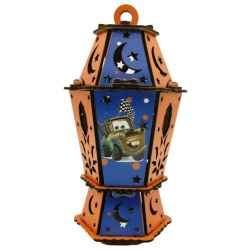 Wood Lantern With Sound & Light - McQueen Cars