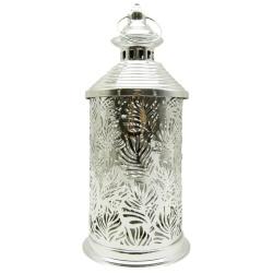 Ramadan Metal Lantern With Light - Silver