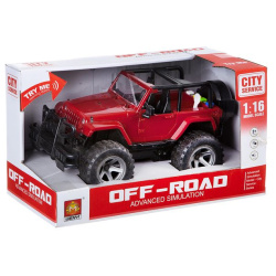 City Service Off-Road 1:16 With Lights & Sounds - Red Jeep Car