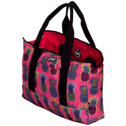 Tote Double Face Handbag - Pineapples / Hot Pink