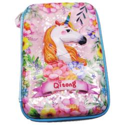 Flower Unicorn Pencil Case - Blue
