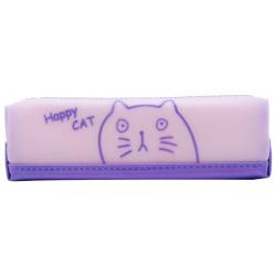 Happy Cat Pencil Case - Purple