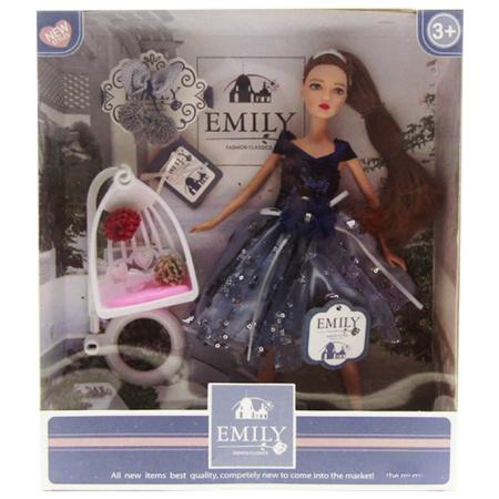 Emily Fashion Doll - Navy & Grey Dress